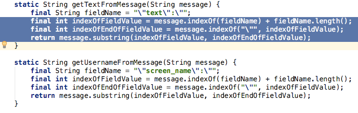 Highlight an instance of the duplicate code