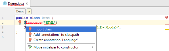 java inject html annotation import class