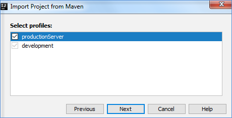 maven import proj select profiles