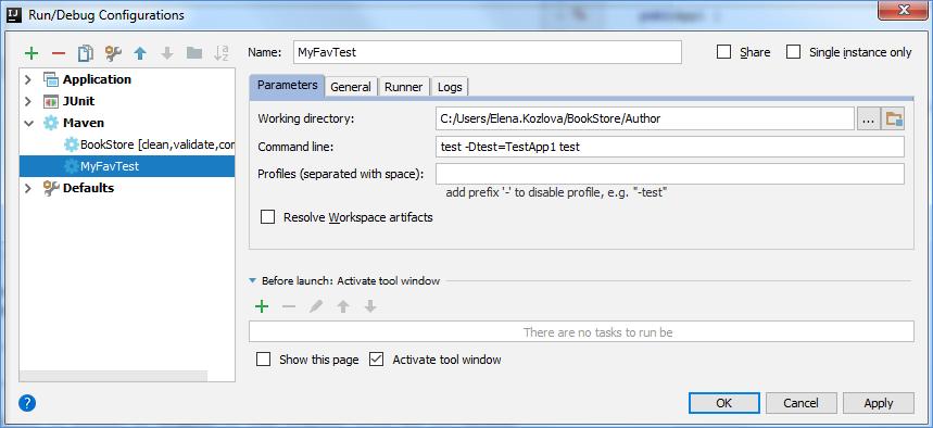 maven run config for test