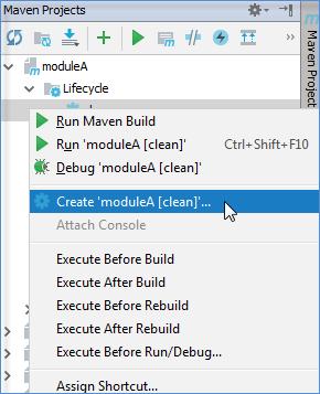 maven tool window context menu