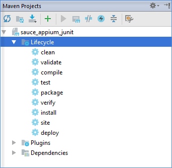 maven tool window structure