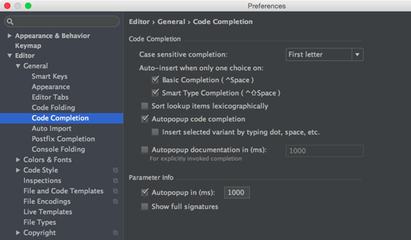 migration guide code completion settings