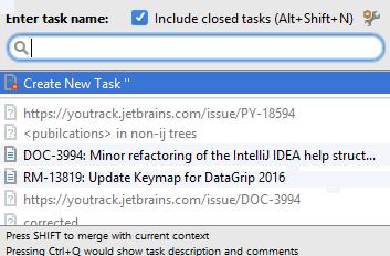open task dialog suggestion list