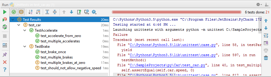 how to run a test using pycharm