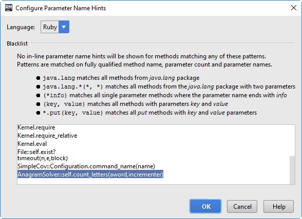 rm parameter hints blacklist 2
