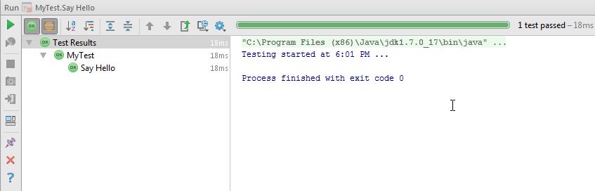scala test run result