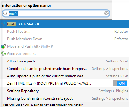 search and options dialog