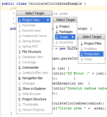 IntelliJ IDEA: Select Target popup
