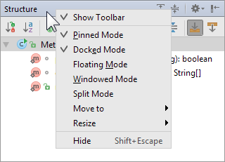 tool windows title bar