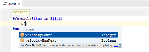 velocity code completion 2