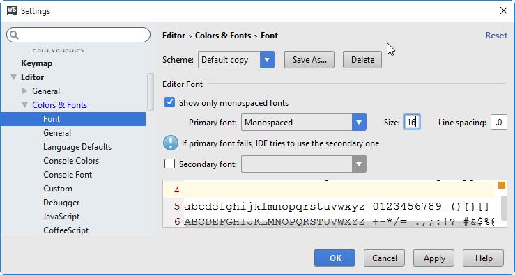 ws editor settings fonts