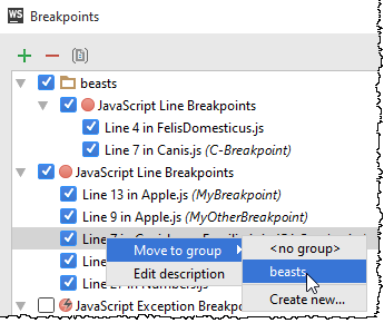 ws move breakpoint to existing group