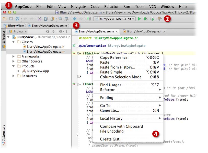 AppCode menus and toolbars