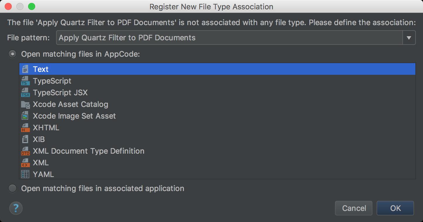 Register New File Type dialog box