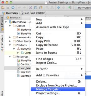 AppCode Select Manage Targets