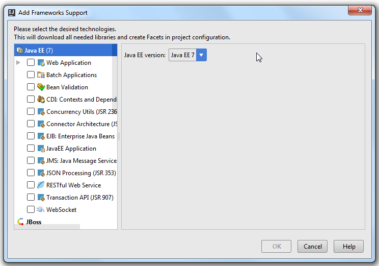 add frameworks support dialog