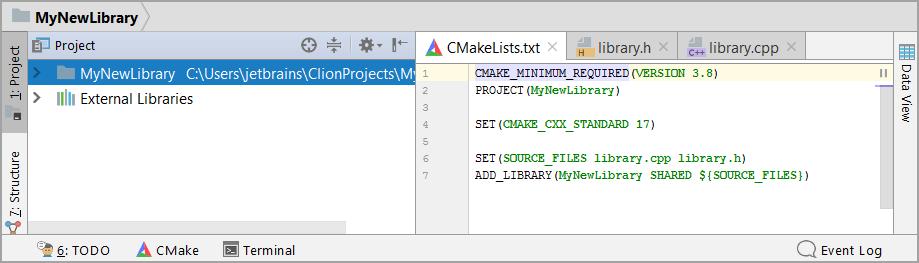cl NewProjectCMake