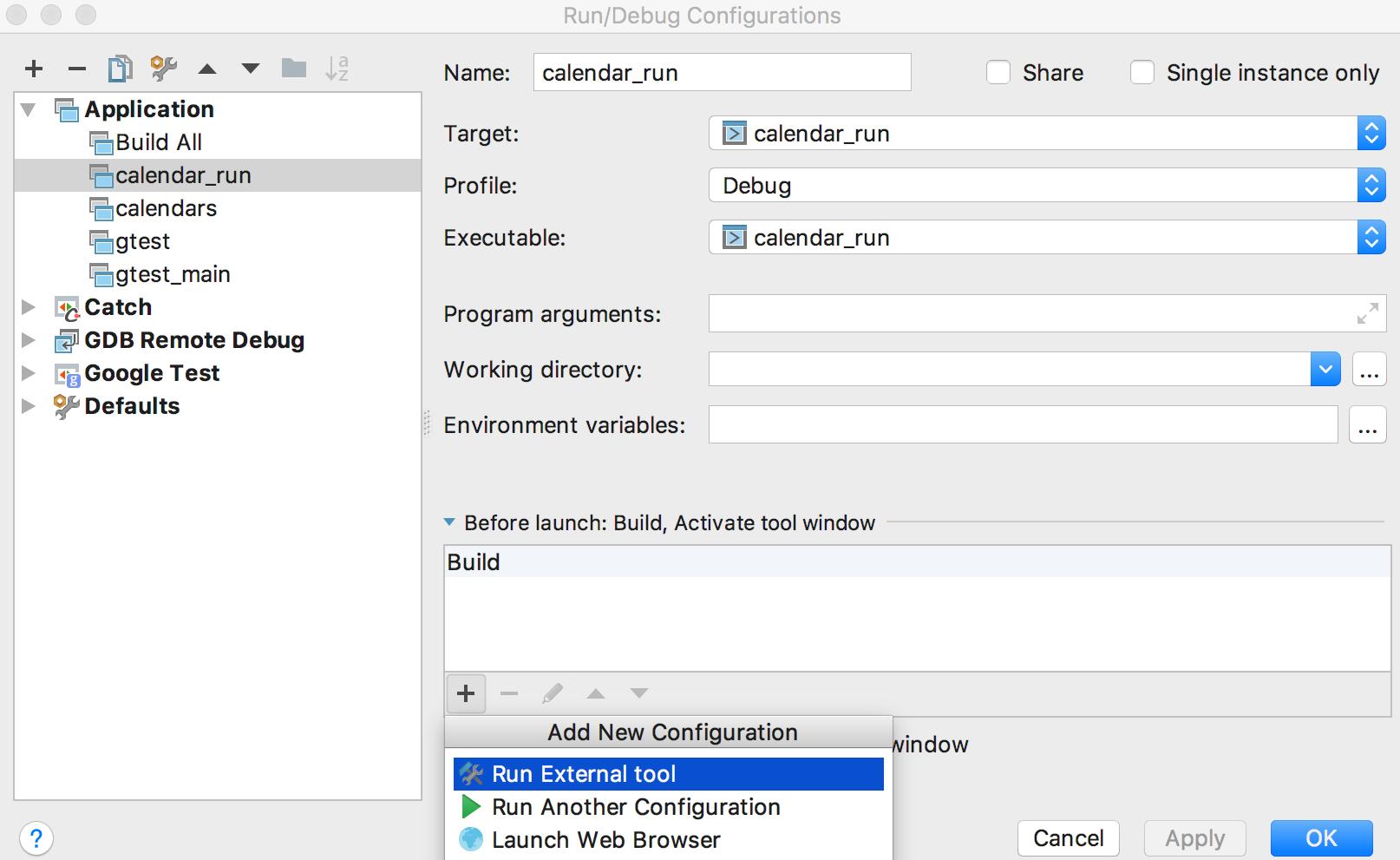 cl QST runDebugConfiguration
