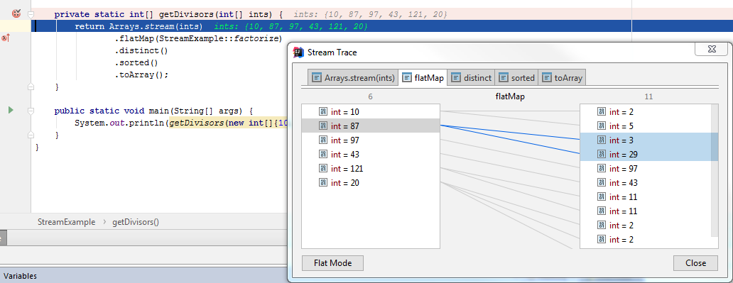 debug stream trace split view