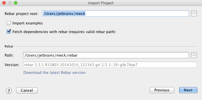 erlang import project fetch