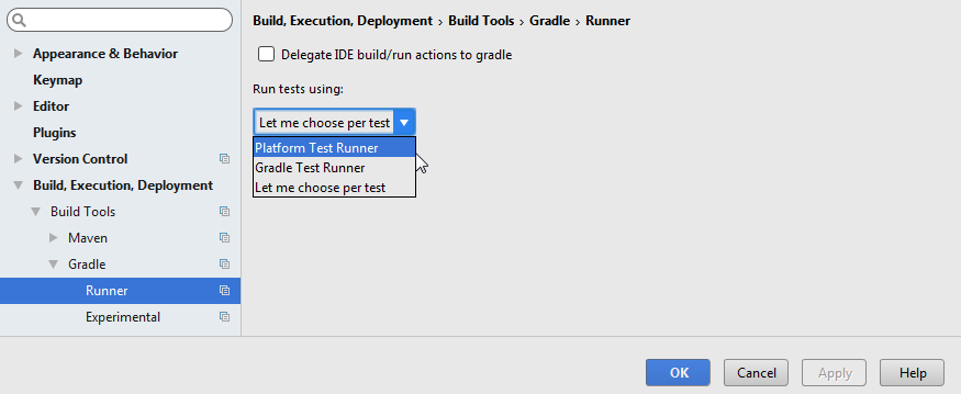 gradle test runner