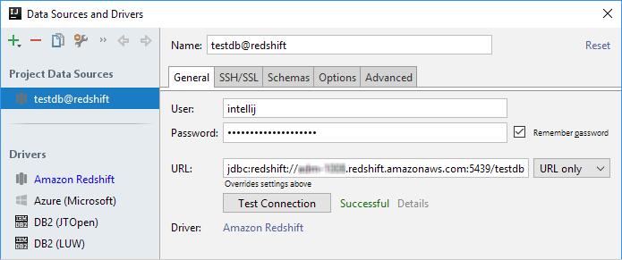 ijDBAmazonRedshiftConnectionSuccessful