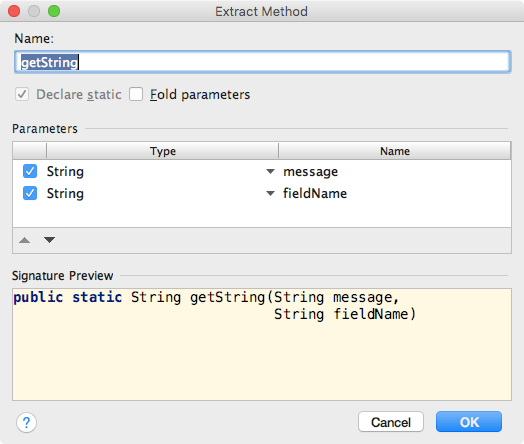 Extract method dialog