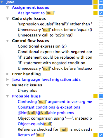 ij java 8 null inspections