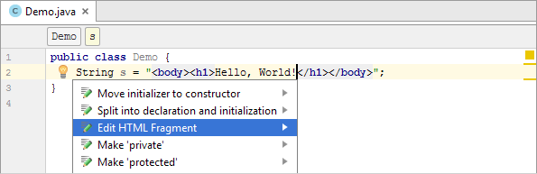 java injected html edit