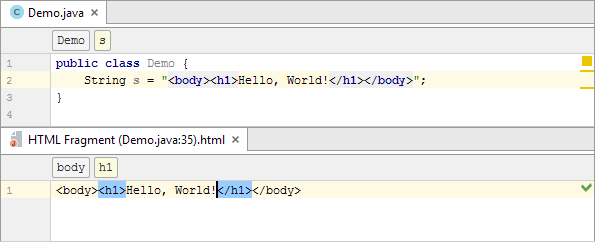 java injected html editor