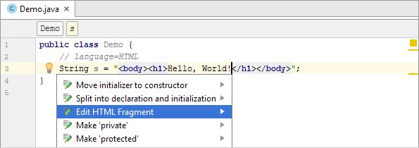 java injection comment html