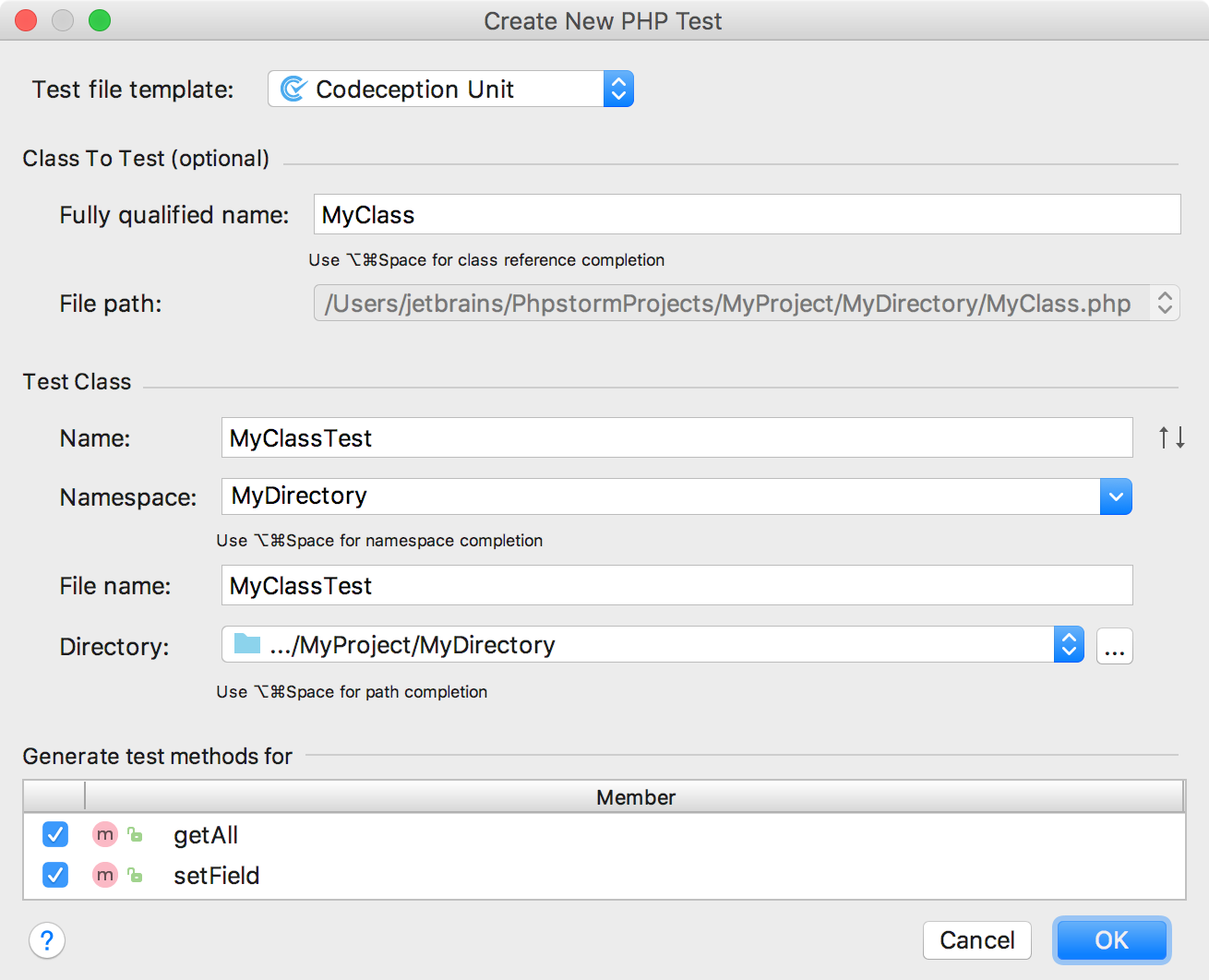 ps create new php test codeception dialog