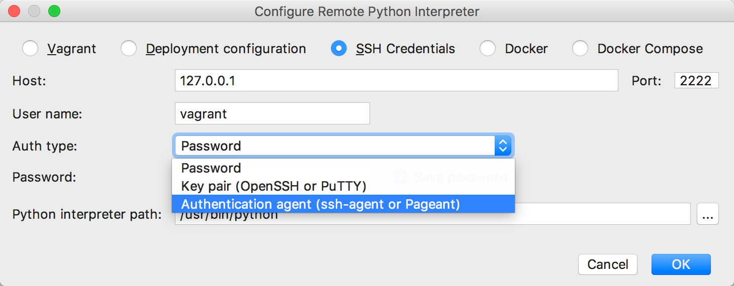 py configure remote interpreter