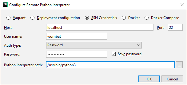 py configure remote interpreter wsl 1