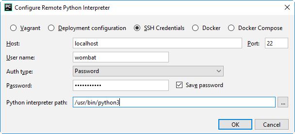 py configure remote interpreter wsl 1