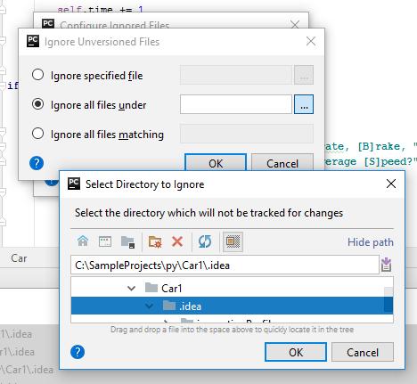 py ignore files under folder