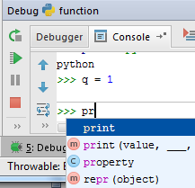 py interactive debug console