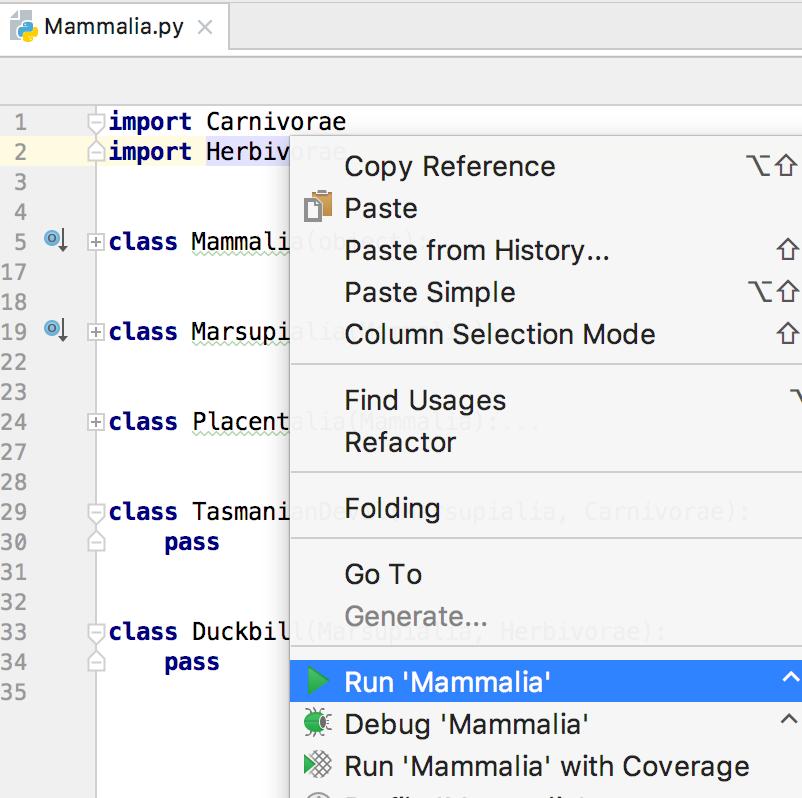 py run context menu