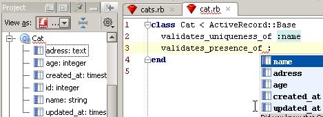 rails CodeCompletionValidate
