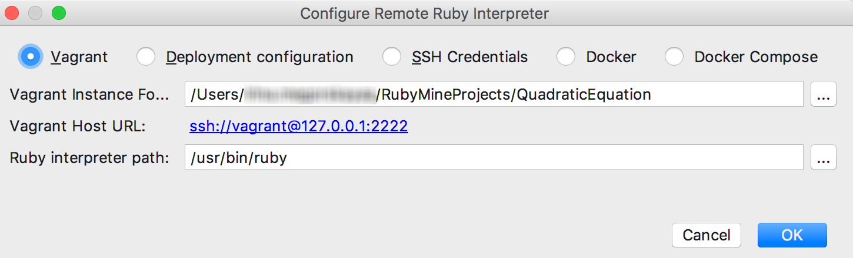 rm configure remote interpreter vagrant