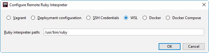 rm configure remote interpreter wsl 1