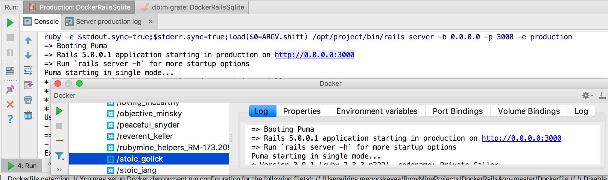 rm correspondence between docker and run tool window