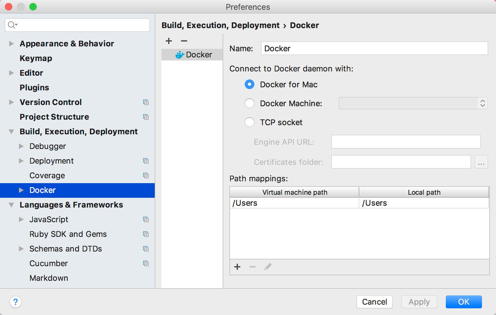 rm docker settings
