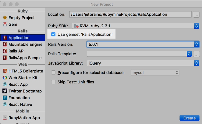 rm new rails app with gemset 1