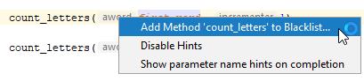 rm parameter hints blacklist