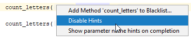 rm parameter hints disable