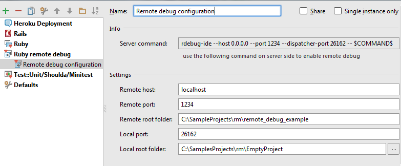 rm remote debug run configuration