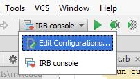 Choosing RubyMine run/debug configurations