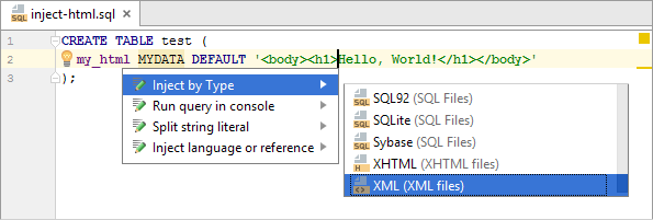 sql inject mydata by type